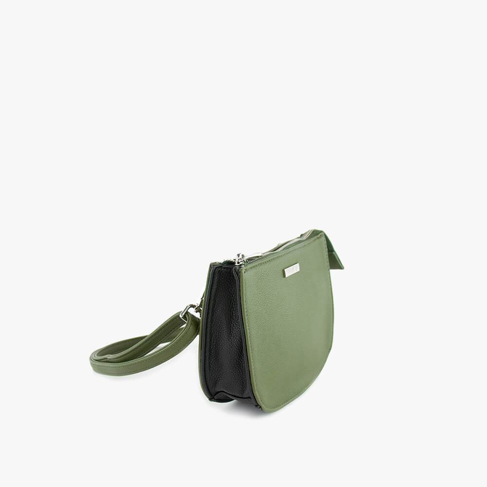 jade clutch from Kanevas, bag that can be worn at the waist, khaki and black vegan leather