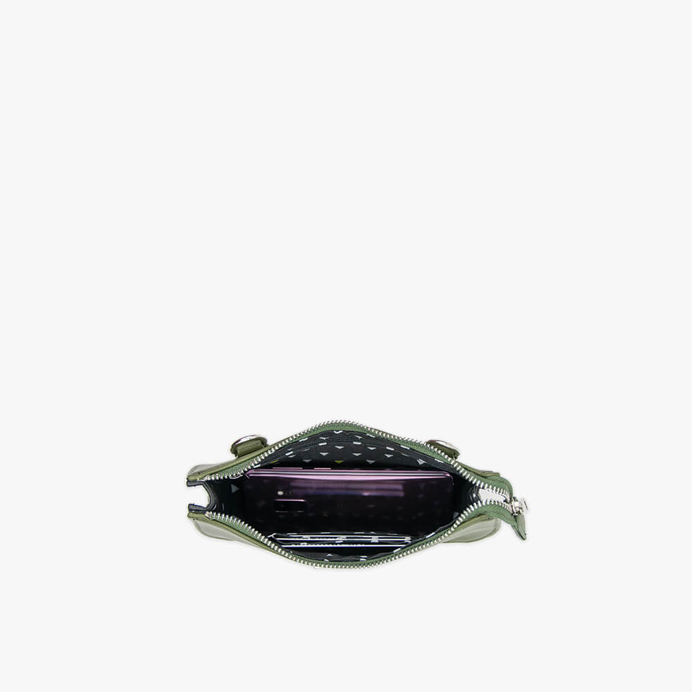 jade clutch from Kanevas, bag that can be worn at the waist, khaki and black vegan leather, inside card storage and zippered pocket