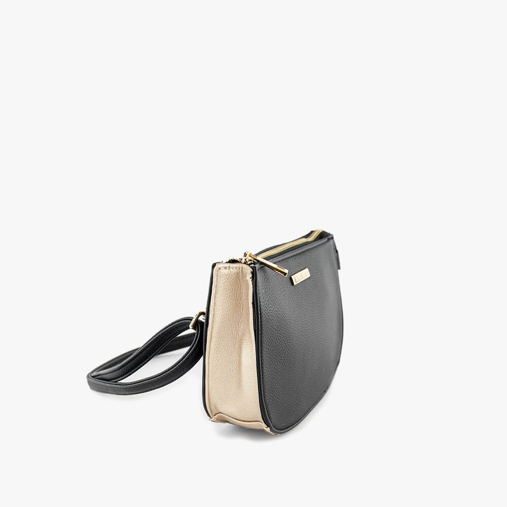 jade clutch from Kanevas, bag that can be worn at the waist, black and gold vegan leather