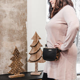 jade clutch from Kanevas, bag that can be worn at the waist, black and leopard print vegan leather