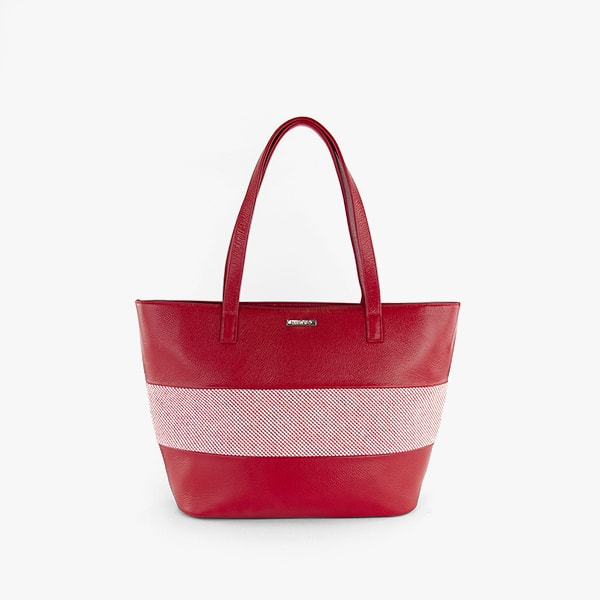 exterior red dots pattern cotton and red genuine leather, red handles, silver hardware