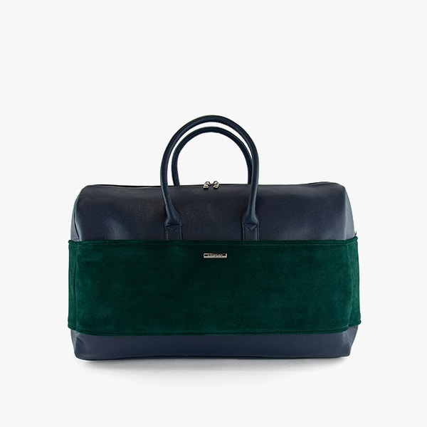 exterior dark green suede and dark blue vegan leather, dark blue handles, silver hardware