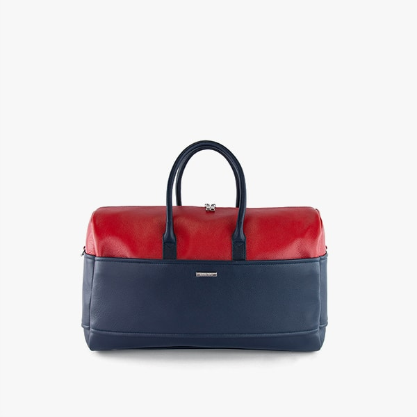 exterior dark blue and red genuine leather, dark blue handles, silver hardware