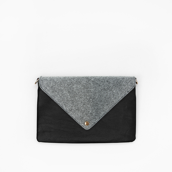 Kanevas felt flap on black clutch from removable and interchangeable bag collection
