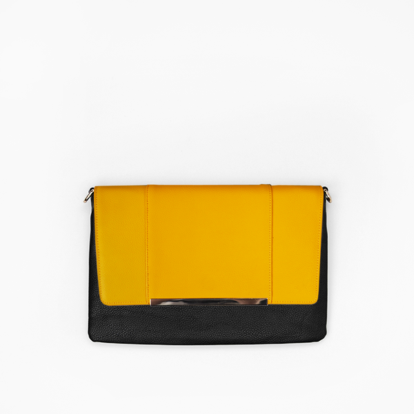 Yellow flap from Kanevas' flap bag collection; removable and interchangeable; dark yellow vegan leather; pocket in black vegan leather