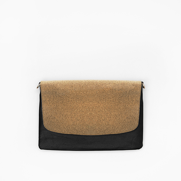 Cork flap from Kanevas' flap bag collection; removable and interchangeable; cork imitation; pocket in black vegan leather