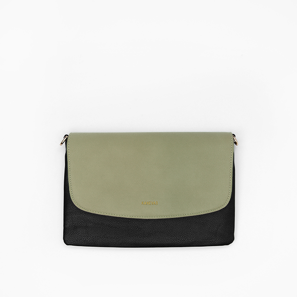 Kanevas olive flap with black clutch from removable and interchangeable flap bag collection