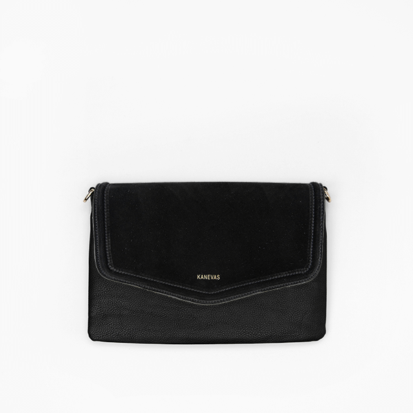 flap bag<br/>black suede flap