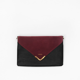 Red wine flap from Kanevas' flap bag collection; removable and interchangeable; red suede; pocket in black vegan leather