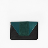 Green flap from Kanevas' flap bag collection; removable and interchangeable; green vegan leather and green suede; pocket in black vegan leather