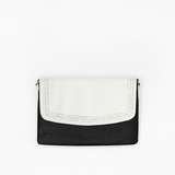 Braided flap from Kanevas' flap bag collection; removable and interchangeable; beige vegan leather; pocket in black vegan leather