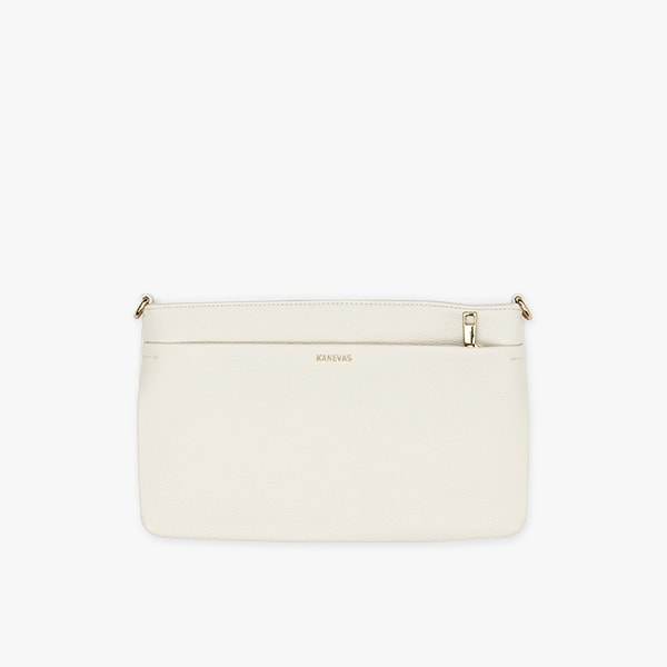flap bag | beige pocket in genuine leather