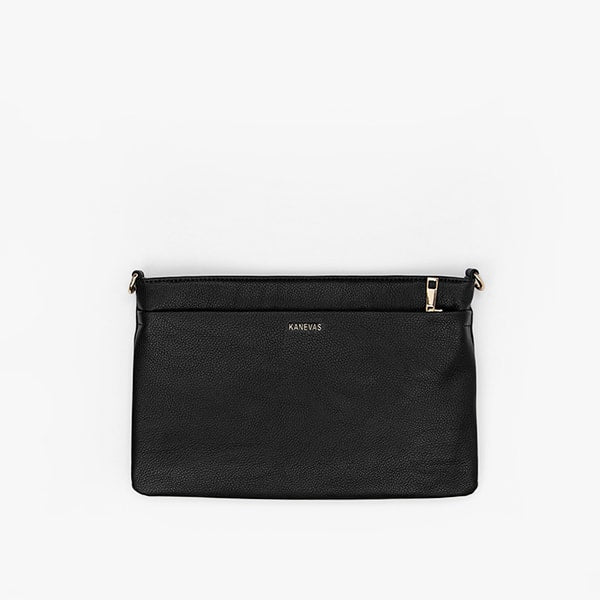 flap bag | black pocket in genuine leather