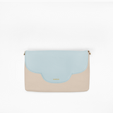 Sky flap from Kanevas' flap bag collection; removable and interchangeable; light blue vegan leather; pocket in beige genuine leather