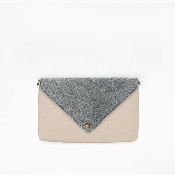 Kanevas felt flap on taupe vegan leather clutch from removable and interchangeable bag collection