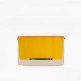 Yellow flap from Kanevas' flap bag collection; removable and interchangeable; dark yellow vegan leather; pocket in beige genuine leather