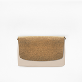 Cork flap from Kanevas' flap bag collection; removable and interchangeable; cork imitation; pocket in beige genuine leather