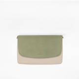 Kanevas olive flap with taupe vegan leather clutch from removable and interchangeable flap bag collection