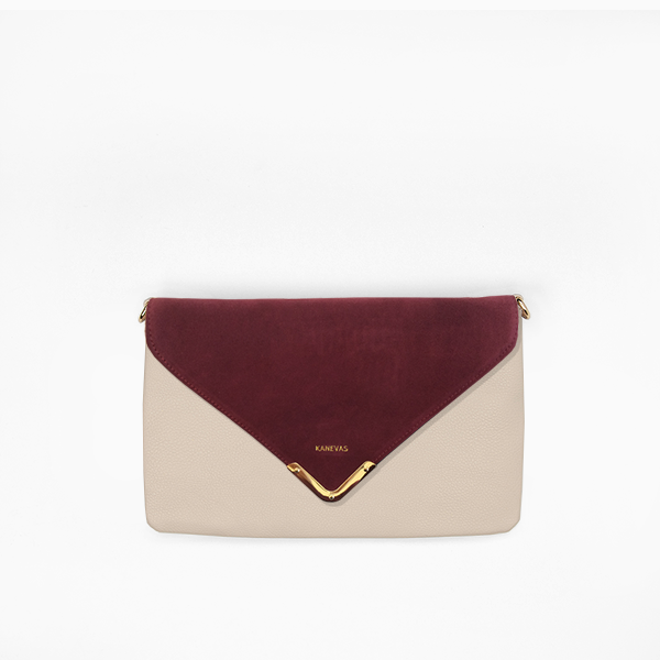 Red wine flap from Kanevas' flap bag collection; removable and interchangeable; red suede; pocket in beige genuine leather