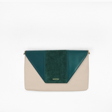 Green flap from Kanevas' flap bag collection; removable and interchangeable; green vegan leather and green suede; pocket in beige genuine leather