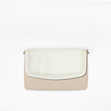 Braided flap from Kanevas' flap bag collection; removable and interchangeable; beige vegan leather; pocket in beige genuine leather