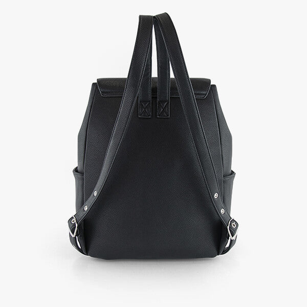 back exterior black vegan leather, black shoulder straps