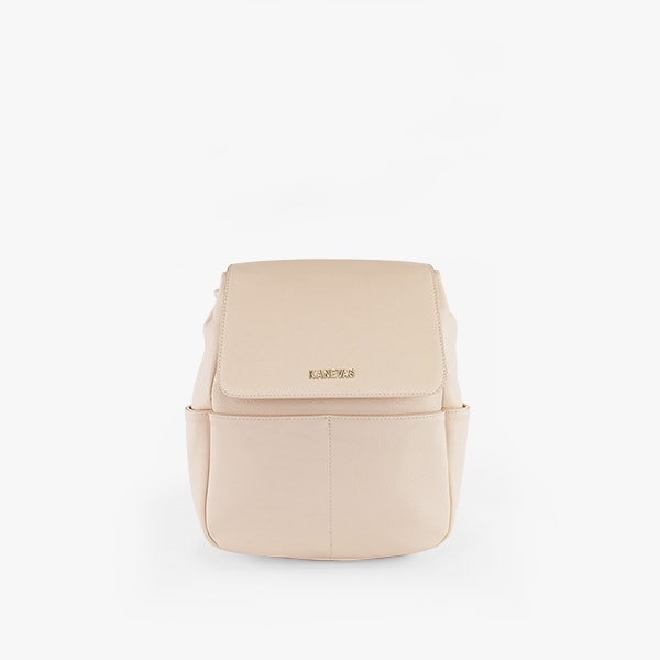 front exterior pink vegan leather, gold hardware