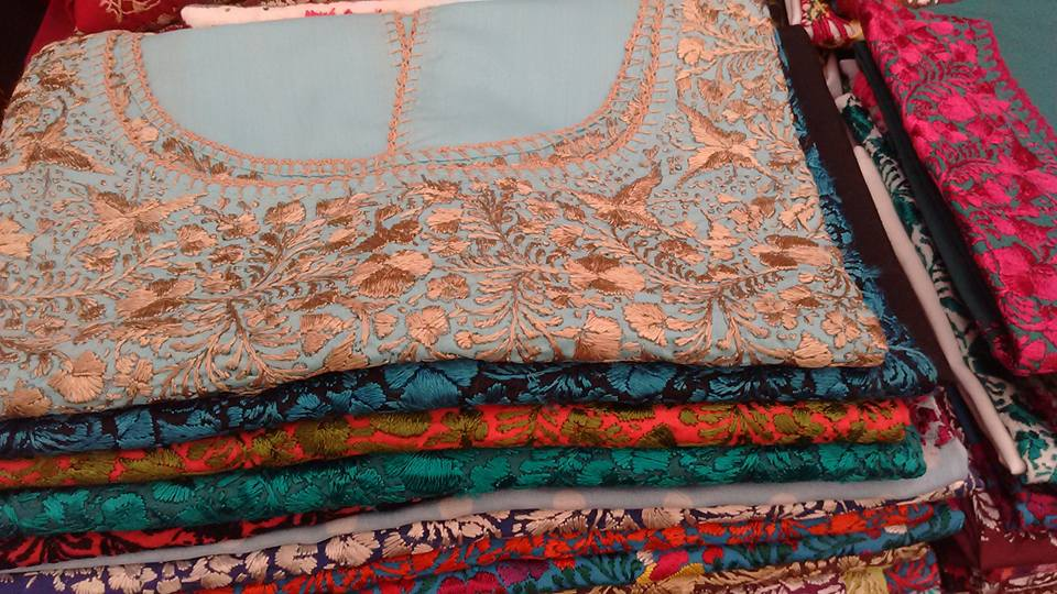 Silk shirts embroidered by hand in Oaxaca