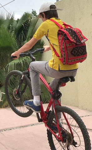 handmade 2 pocket cotton backpack for day hikes and bike rides