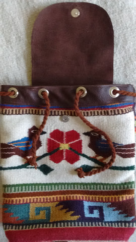Zapotec style Oaxacan wool and leather backpack with bird design in the front