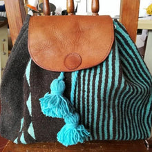 Load image into Gallery viewer, Brown and turquoise Oaxacan wool and leather backpack hand woven by master weaver in Mexico