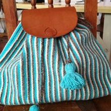Load image into Gallery viewer, Turquoise stripe Oaxacan wool and leather backpack hand woven by master weaver in Mexico
