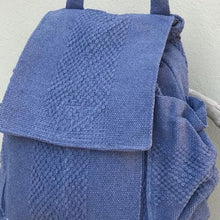 Load image into Gallery viewer, quality Oaxacan 5 pocket backpack in jeans color with external water bottle holder and phone pocket