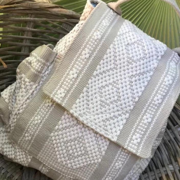 quality Oaxacan 5 pocket backpack in beige and kaki with external water bottle holder and phone pocket for graduation gift, travel gift, teen gift, girlfriend gift