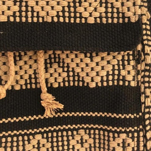 Black and camel colors for this 5 pocket backpack hand woven in Oaxaca, Mexico