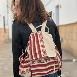 5 pocket Oaxacan backpack in burgundy and kaki, with external water bottle holder and phone pocket