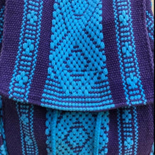 Load image into Gallery viewer, 2 POCKET BACKPACK IN TURQUOISE AND PURPLE HANDMADE IN OAXACA MEXICO FOR COLLEGE STUDENTS, DAY TRIPS, EVERYDAY BACKPACK BAG, HIKES, BIKE RIDES