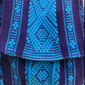 2 POCKET BACKPACK IN TURQUOISE AND PURPLE HANDMADE IN OAXACA MEXICO FOR COLLEGE STUDENTS, DAY TRIPS, EVERYDAY BACKPACK BAG, HIKES, BIKE RIDES