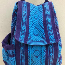 Load image into Gallery viewer, quality Oaxacan 5 pocket backpack in turquoise and purple with external water bottle holder and phone pocket