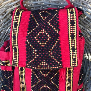 quality Oaxacan 5 pocket backpack in red, black and yellow with external water bottle holder and phone pocket