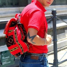 Load image into Gallery viewer, Oaxacan quality backpack with 2 pockets hand woven by master weaver, in red, black and yellow