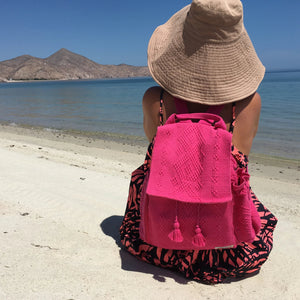 quality Oaxacan 5 pocket backpack in fuchsia with external water bottle holder and phone pocket