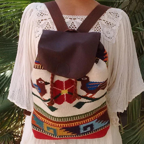 Zapotec bird design wool and leather backpack hand woven in Oaxaca, Mexico