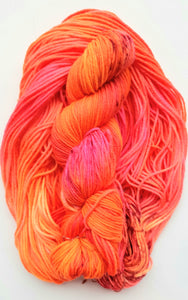 """Coral POP"" 100% Merino Hand Dyed Wool Yarn"