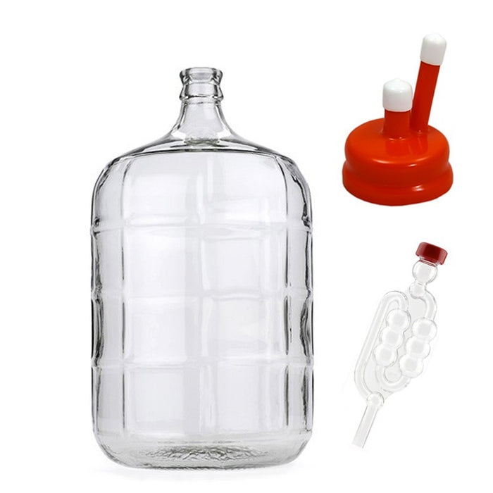 5 Gallon Glass Carboy Fermenter with Rubber Vent Cap & Airlock