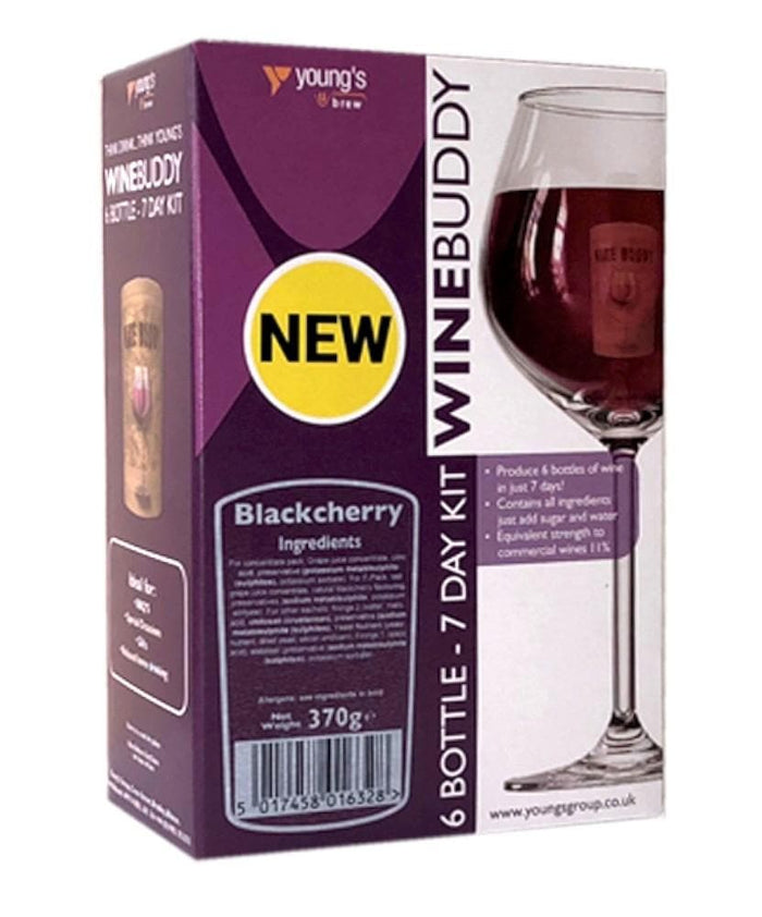 WineBuddy - Black Cherry Wine - 7 Day Wine Kit - 6 Bottles