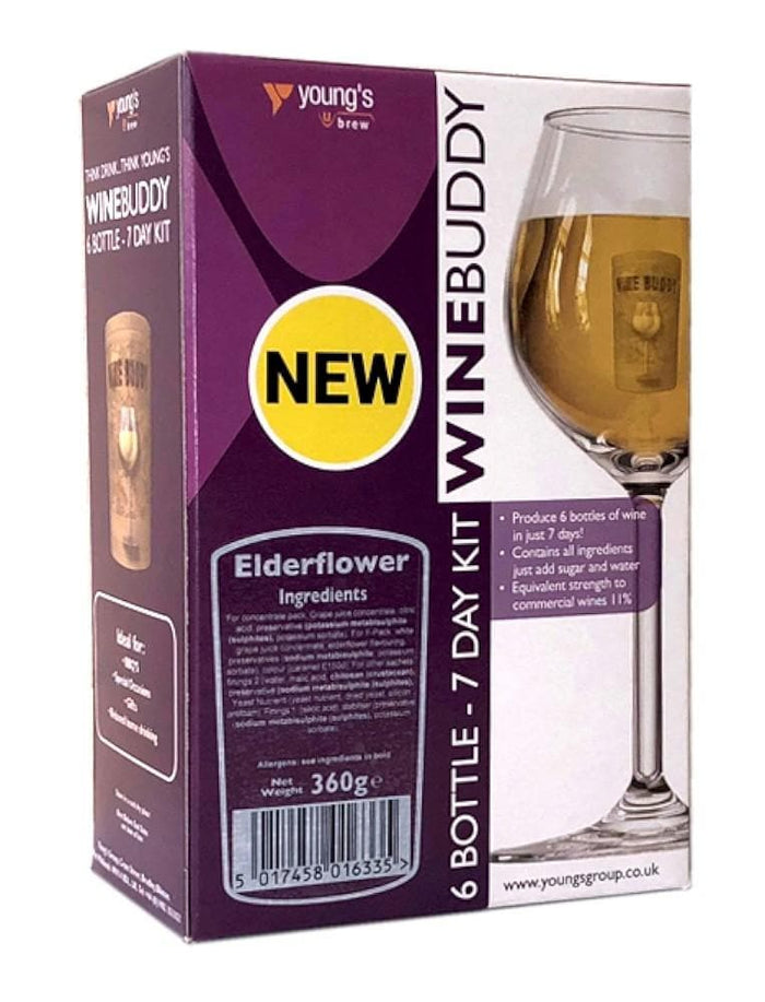 WineBuddy - Elderflower Wine - 7 Day Wine Kit - 6 Bottles