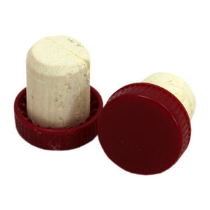 Plastic Topped Corks - Red - 30 Pack