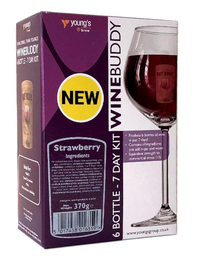 WineBuddy - Strawberry Wine - 7 Day Wine Kit - 6 Bottles