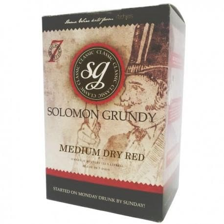 Solomon Grundy Original - Medium Dry Red - 7 Day Red Wine Kit - 30 Bottle